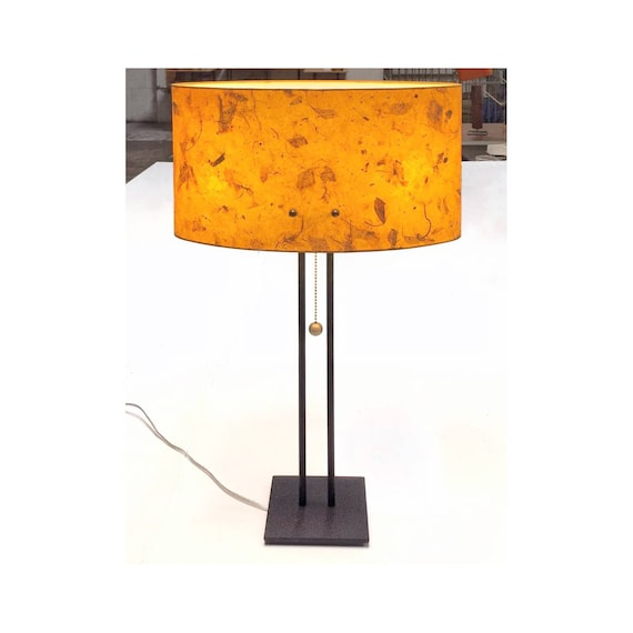 . Modern Table Lamp with vintage lighting style  orange  mango  shade  made  in Los Angeles