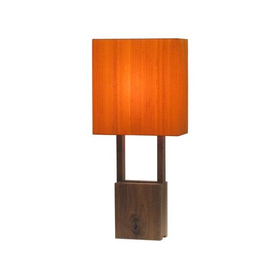 Modern Table Lamp Walnut Base Orange Silk Shade Narrow Etsy