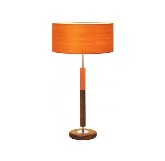 Mid Century Modern Table Lamp Orange Shade Walnut Wood Base Etsy