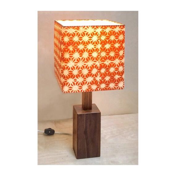 Modern Walnut Base Table Lamp With Orange Decorative Shade Etsy