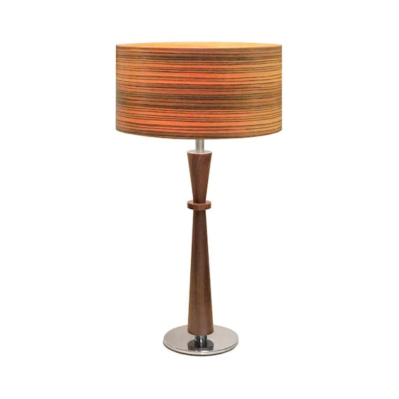 Modern Bowtie Mid Century Style Table Lamp Chrome And Walnut Etsy