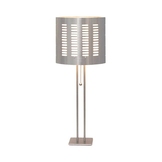 Modern Table Lamp, Perforated Metal Shade, Nickel Silver Base Made In Los  Angeles