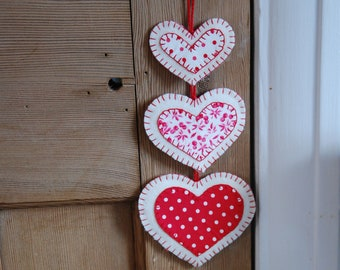 Heart Decorations, Red and White Heart Decorations, Heart hangings