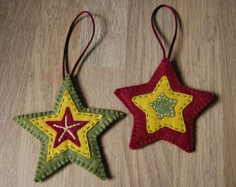 Rustic Christmas Decorations, Heart Decorations, Felt Decorations, Christmas Tree Decorations, felt christmas ornaments, Star Decorations