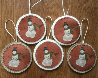 Rustic Christmas Decorations, Snowman Decorations, Felt Decorations, Christmas Tree Decorations, felt christmas ornament