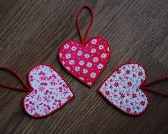 Trio of Heart Decorations, Heart Hanging Decorations, Heart Decorations, Love Heart Decorations