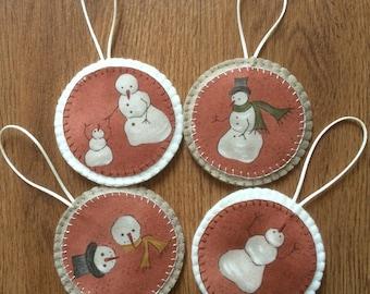 Rustic Christmas Decorations, Snowman Decoration, Felt Decoration, Christmas Tree Decoration, felt christmas ornament, christmas decorations