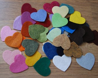 Felt Hearts, Die Cut Felt Hearts, Felt Shapes, Felt Heart Embellishments, Felt Heart Shapes, Mixed Medium Size Heart Pack, Craft Pack