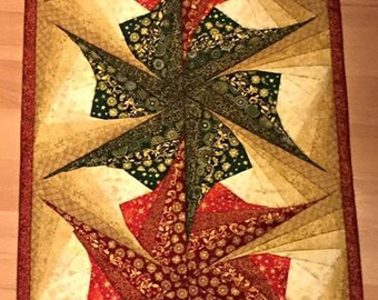 Twisted Log Cabin Poinsettia Table Runner Pattern, Table Runner Pattern, Twisted Log Cabin