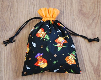 Drawstring Trick or Treat Bag, Halloween Gift, Owl Bag, Haloween themed bag, Gift Bag, Haloween Gift Bag, Trick or treat, Party Bag