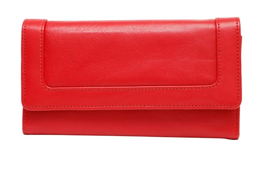 1480a9673f03 ASHLIN Ladies 7-inch Clutch Wallet includes 12 Credit Card Slots - Tuscany  Leather/ Natural Milled Cowhide - Black/ Tan/ Engine Red(L9951)
