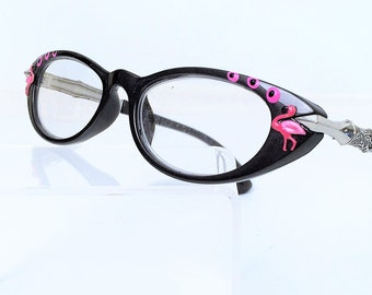 Reading Glasses  Pink Flamingos, Cat Eye Women's eyeglasses +1.25