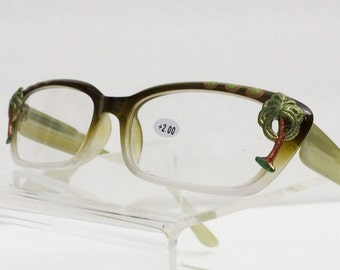 Palm Tree Reading Glasses +2.00 Hand Painted, Women's, Vintage, Palms, Fun, Beach Lover
