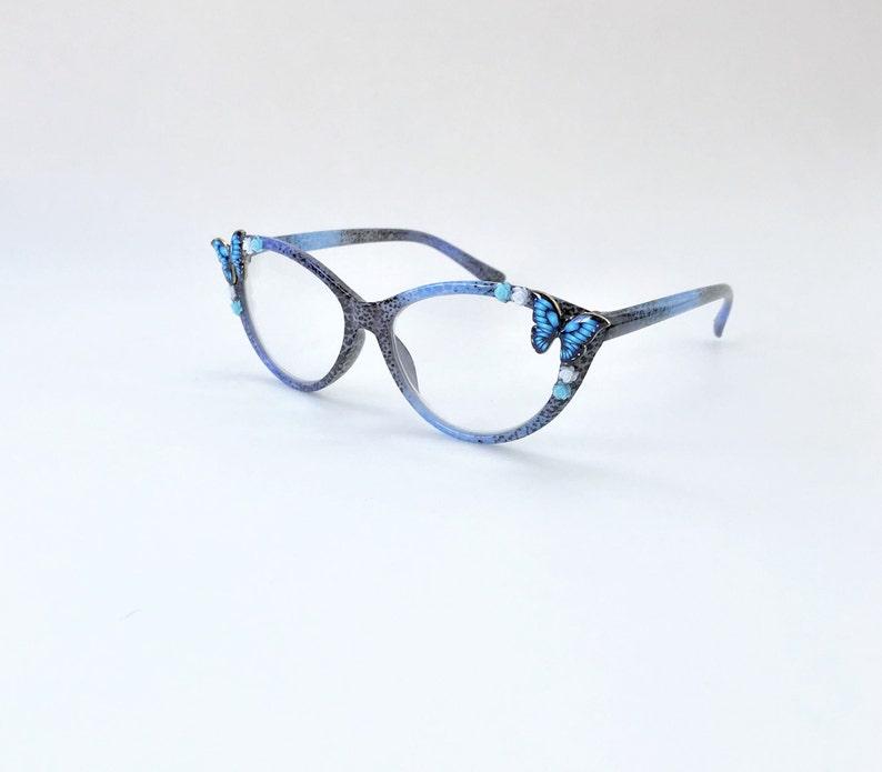 + 2.25 blue Cat eye Reading glasses butterfly women