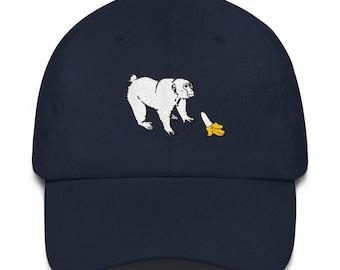 Aap wil een banaan hoed / / banaan hoed / / Monkey hoed / / aap eet een banaan hoed / / Funny aap Hat / / Funny banaan hoed / / geborduurde