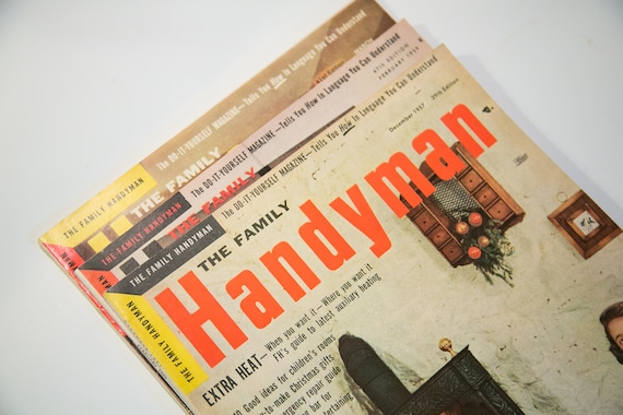 THREE Issues of The Family Handyman - 1950's - Great Graphics and Color Ads  - Vintage Magazines