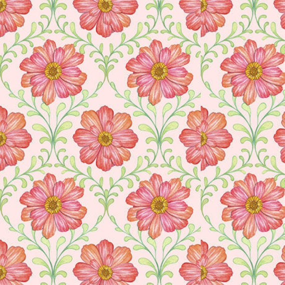 Charleston Nicole Tamarin BTY Quilting Treasures Floral Pink Orange Green
