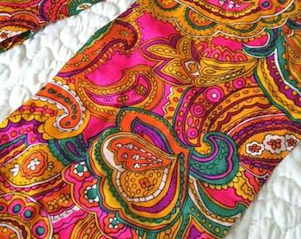 MOD Psychedelic Paisley Pop Art Maxi Scarf; Peter Max inspired, 7 Ft-Long (8 Inches of Fringe!) One of a Kind - HANDMADE - Jersey Knit