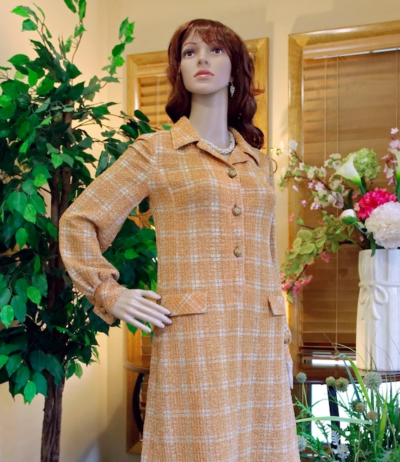 TRICOSA (Paris) Orange Plaid Metallic MINI Shirt P