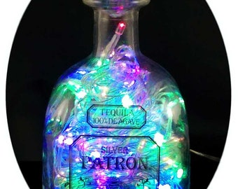 Upcycled Patron Tequila Mood Therapy Liquor Bottle Light w/Multi-Color LED's