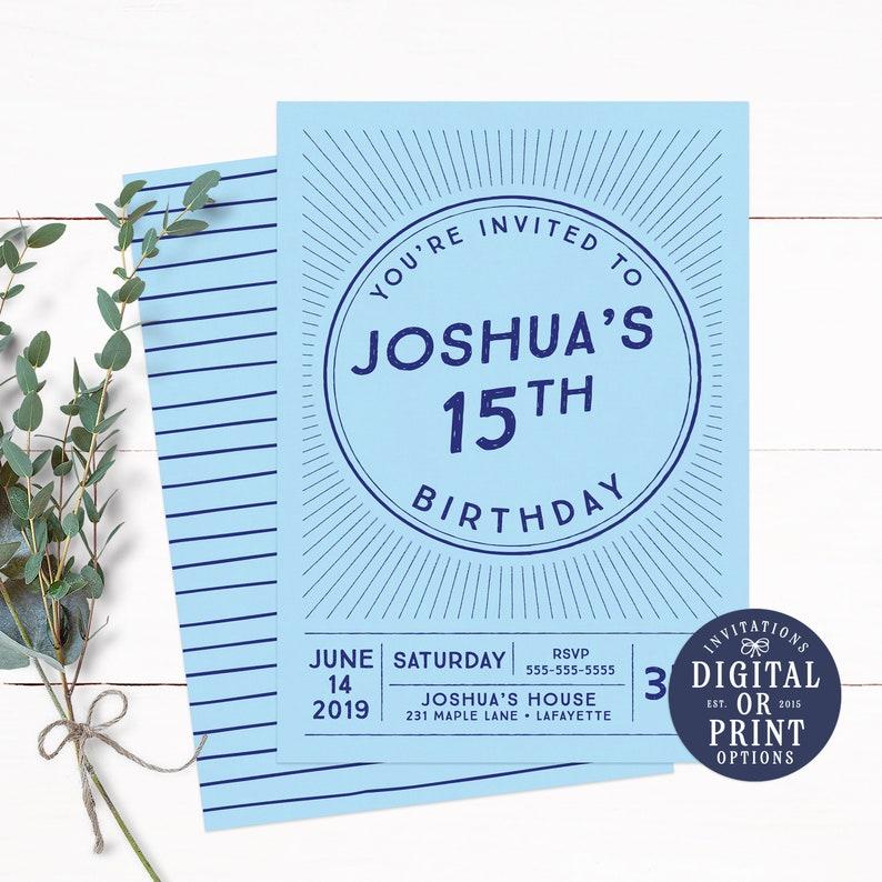 Boy Invitations Teen Invitation Birthday For