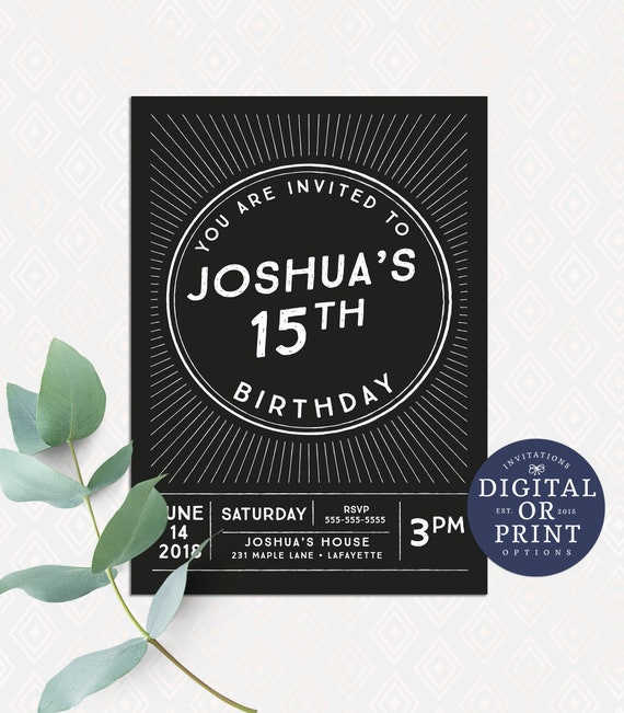Boy Birthday Invitation Teen Invitations