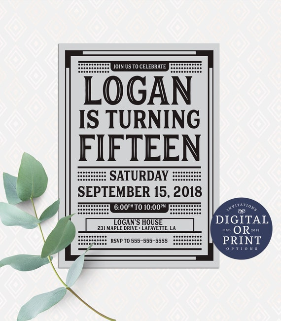 Boy Invitations Teen Invitation Birthday