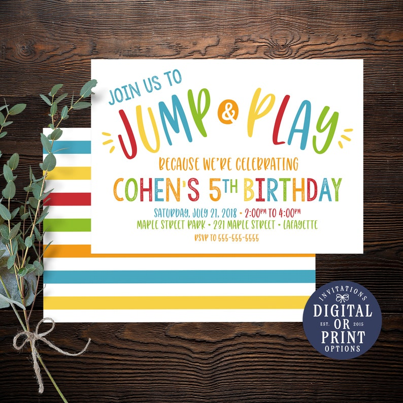 Park Invitation Playground Boy Birthday Invitations Bounce House Printed
