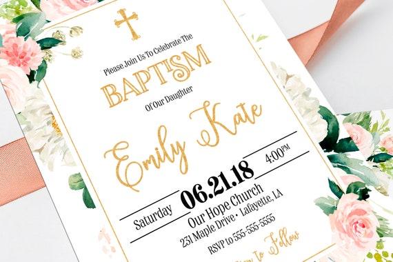 floral baptism invitation girl invitations girl baptism etsy