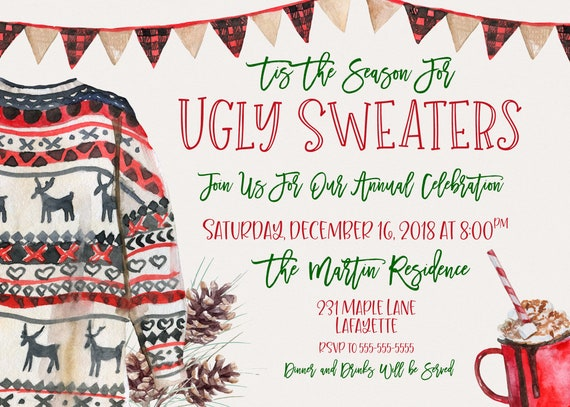 Tacky Sweater Christmas Party Invitations