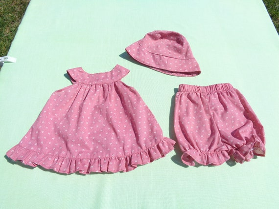 vintage anna's hand made baby girls dress hat and… - image 3