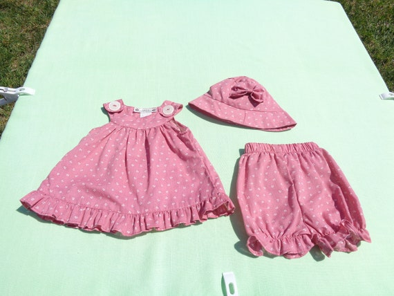 vintage anna's hand made baby girls dress hat and… - image 2