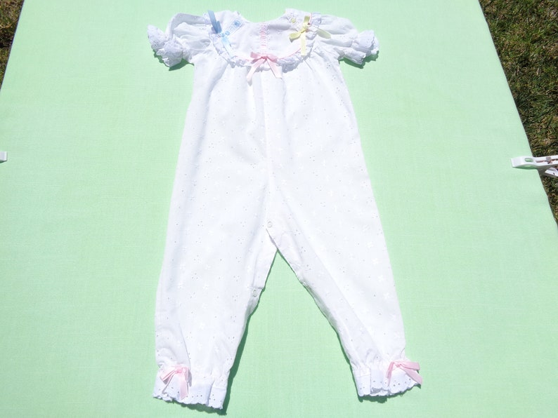 aaa028794bf2 Vintage baby togs baby girls white eyelet coverall romper size