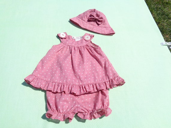 vintage anna's hand made baby girls dress hat and