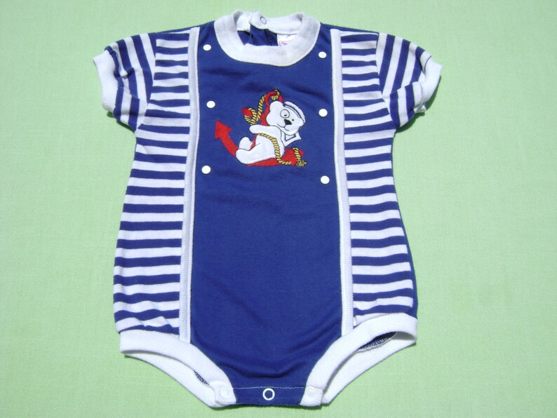 900c80cc vintage buster brown boys nautical romper size 12 months see measurements  royal blue and white stripe with bear and anchor design