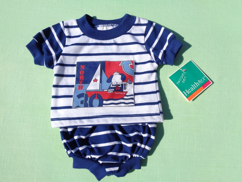 76956fe67 vintage health tex baby boys nautical outfit size 0-5 months see  measurements new with tags navy blue not royal like picture white stripe