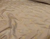 Fleur De Lis Fabric Tone Embroidered 100 Poly Taffeta Silk Like Fabric color Taupe 60 quot Wide, BTY