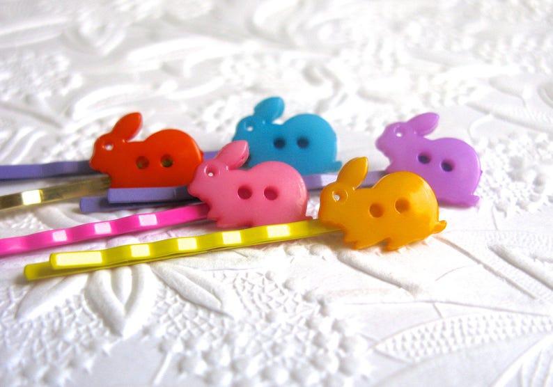 Rabbit Hair Clip Pink Bunny Bunny Hair Clip Bunny Buttons Blue Bunny Button Hair Clip