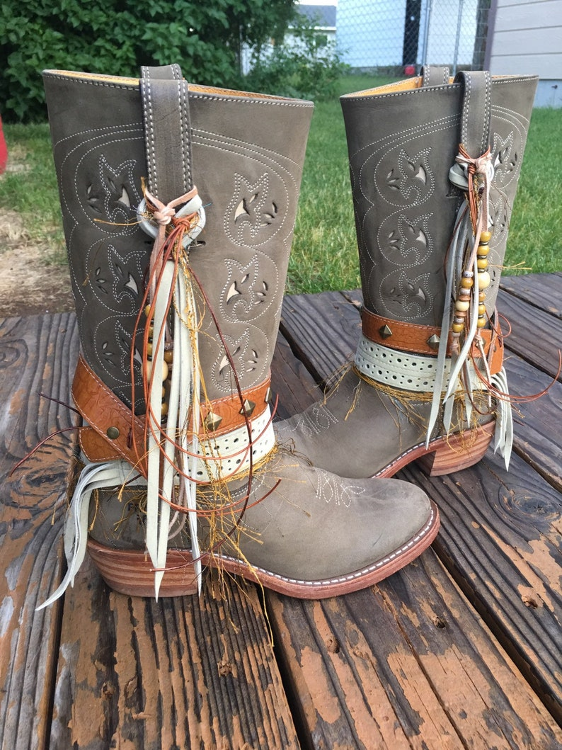 Frye Boots Size 8.5 Tall Boots Gorgeous Light Green UPCycled Cowgirl Boots Boho Fringe Boots