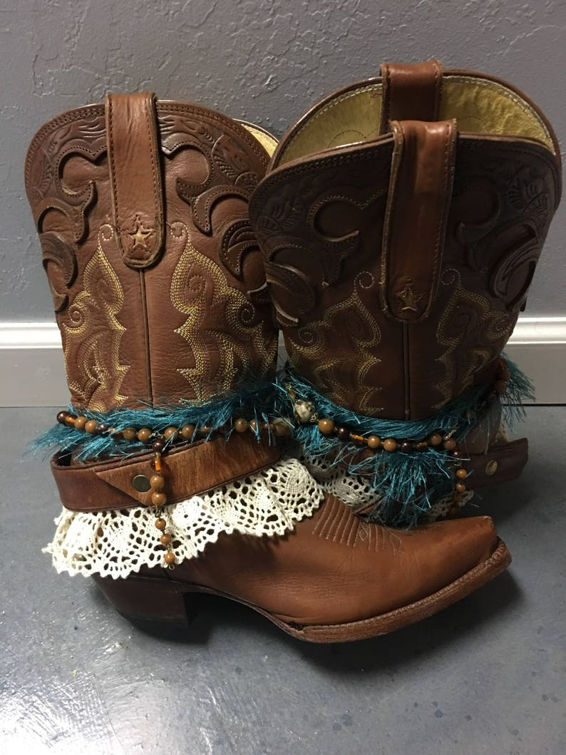 6c1e03ac070 Saddle Tan Embellished Cowboy Boots Ladies size 6.5. UPCycled cowgirl boots  Tall Boots woth turquoise Embellishments