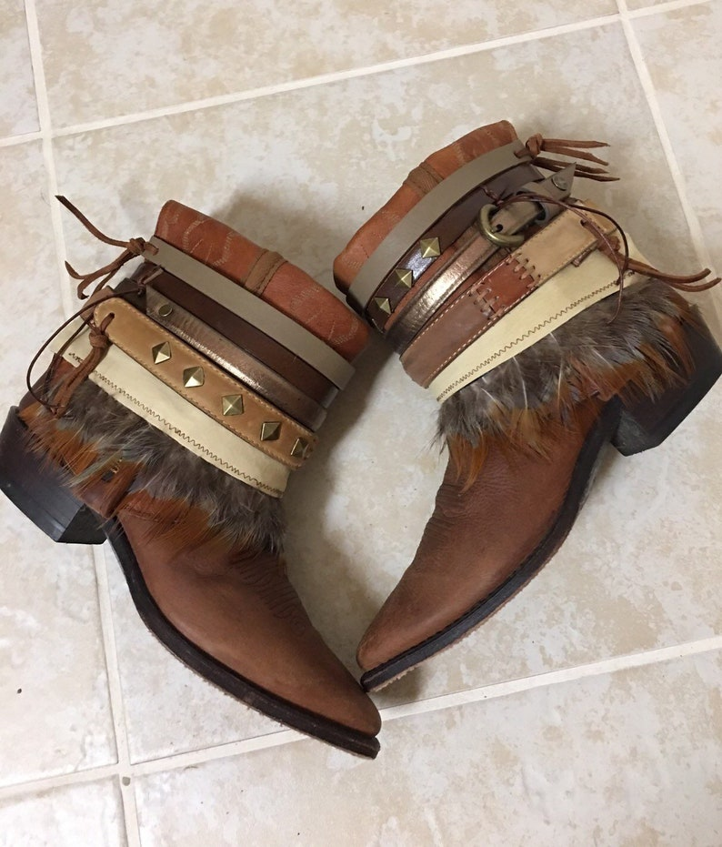 0c19ef1b595 Ankle Boots Brown Feathered UPCycled Cowgirl Boots - Boho Boots Size 8 -  womens leather boots