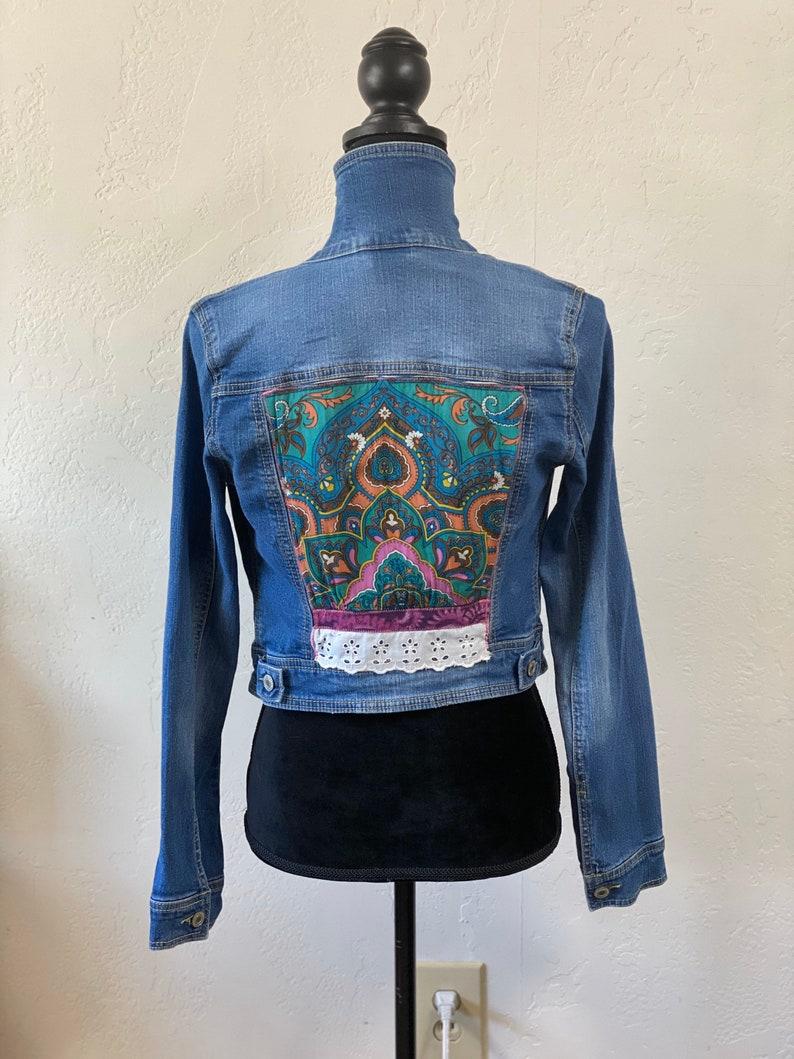 Pink Paisley UPCycled Denim Jacket Womens Jacket Jean Jacket