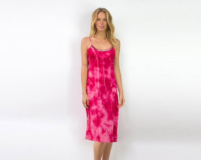 Silk tie dye bias mini dress