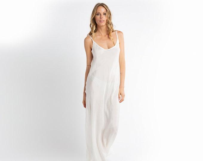 White silk slip
