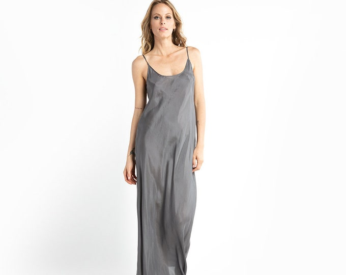 Grey silk slip