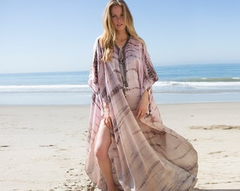 SUMMER '18 NEW COLLECTION: Luxurious Tie Dye Silk Caftan