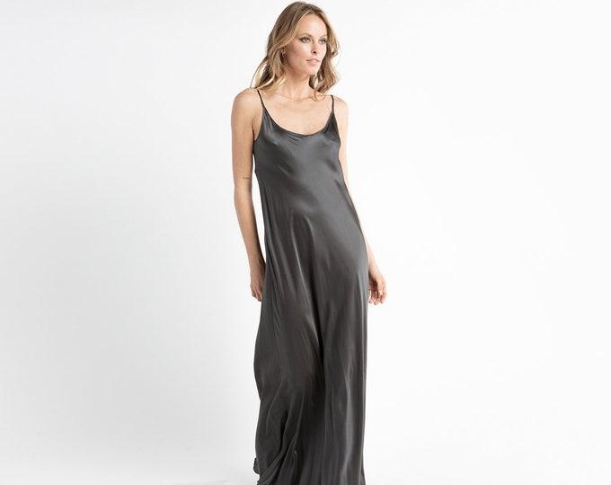Silk Charmeusegrey wedding dress bridesmaid dress