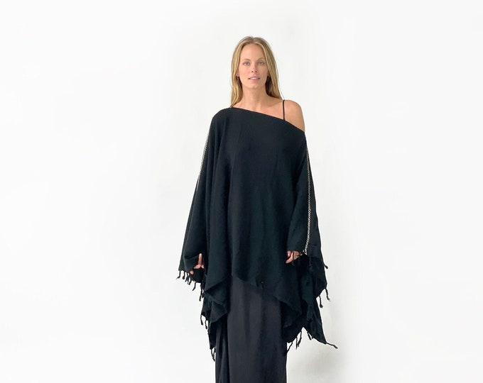 Hand stitched, Turkish towel, Poncho, SOLID black color