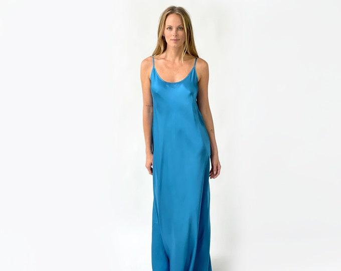 Silk Charmeuse evening dress, bridesmaid dress- BLUE color