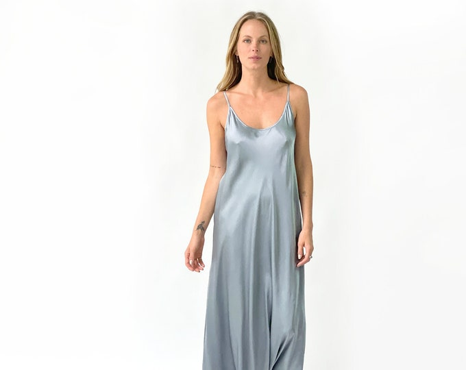 Silk Charmeuse evening dress, bridesmaid dress- STEEL GREY color